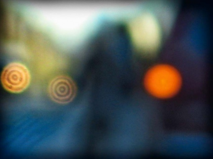 Coloured City series, blue, orange, muted, circles, shapes abstract, abstract expressionism, colour photography, street scape, blur,