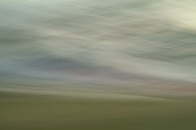 Light Signatures series, day, colour photograph, art, abstract, abstract expressionism, creative, city street, urban, downtown, cityscape, speed, blur, movement, motion, green, pink, muted, streaks, waves, patterns