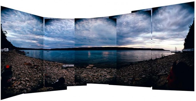 Hope Bay series, sunset, blue sky, water, stoney beach, panorama composite, colour photography