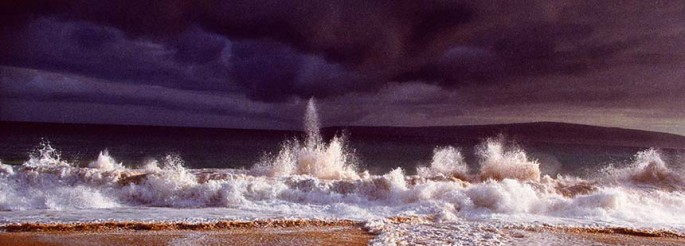 Tropical Series, exploding wave, beach, stormy purple sky, stormy, sky