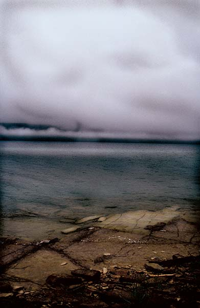 Hope Bay series, fog, water, stoney shore, rocky, stormy