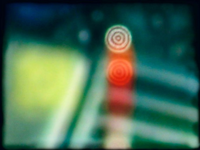 Coloured City series, green, red, turquoise, circles, shapes abstract, abstract expressionism, colour photography, street scape, blur,