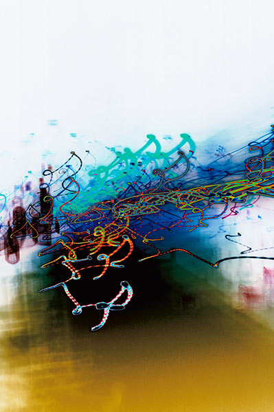 Metro Motion series, ochre, blue, green, vibrant, colourful lines, streaks, abstract, abstract expressionism, colour photography, city scape, motion, movement