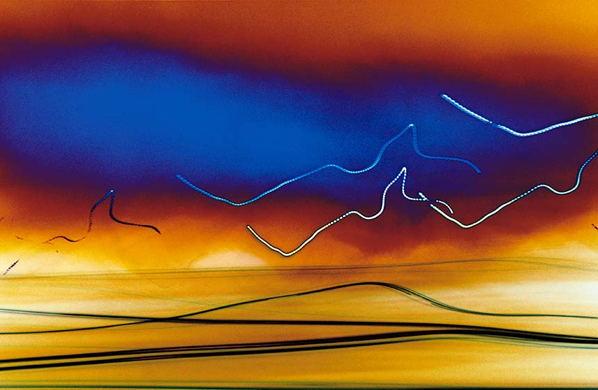 orange blue colorful lines streaks, abstract photograph, facing west, 2002 by William Oldacre