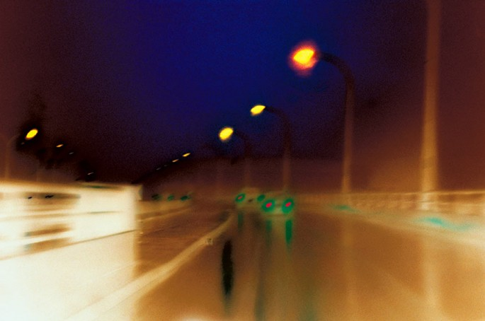 Metro Motion series, ochre, blue, green, cars, street, street lights, muted, colourful lines, streaks, abstract, abstract expressionism, colour photography, city scape, motion, movement