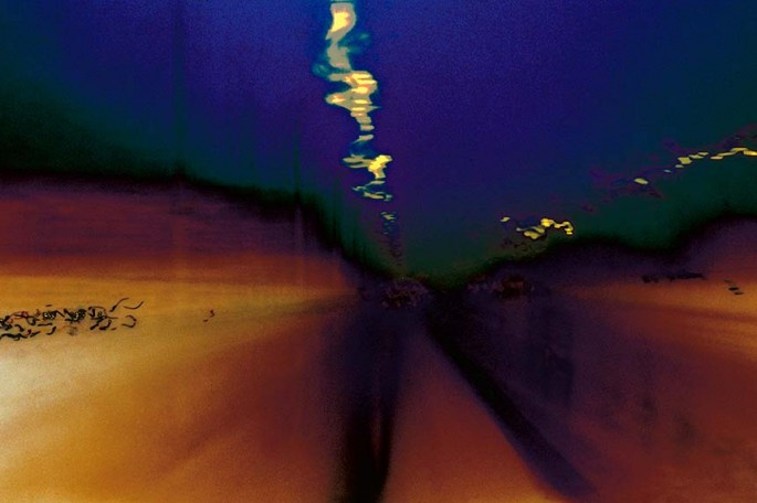 Metro Motion series, orange, blue, yellow, muted, colourful lines, streaks, abstract, abstract expressionism, colour photography, city scape, motion, movement