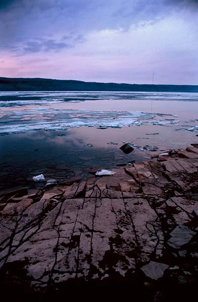 pink, pink sky, thawing water, ice, stone beach, hope bay III, 2008, William Oldacre, Hope Bay