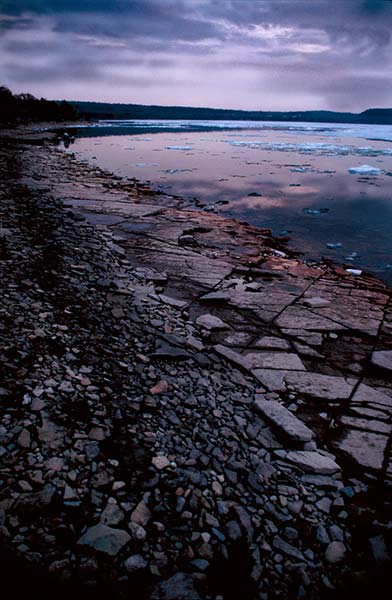 Hope Bay series, pink sky, thawing water, ice, stone beach, pink, purple, colour photography