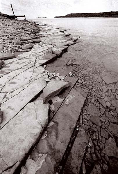 Hope Bay series, rocky shore, water, shore, black and white photograph