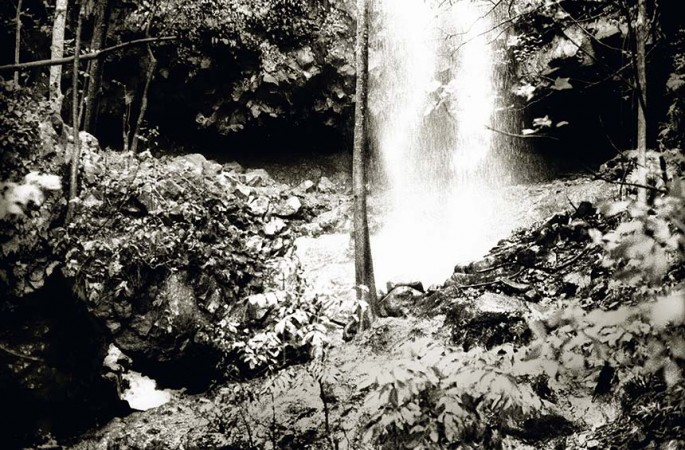 Tropical series, tropical, waterfall,forest, infrared black and white photograph