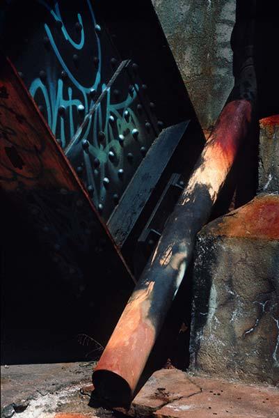 A Priori series, day, colour photograph, art, creative, orange, blue, vibrant, stairs, pipe, rust, graffiti