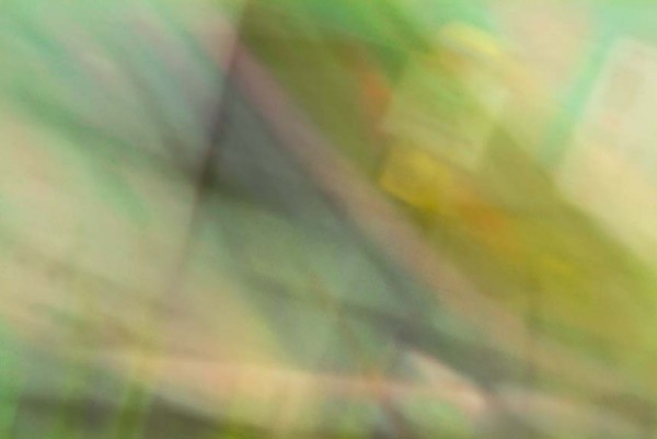 Light Signatures series, day, colour photograph, art, abstract, abstract expressionism, creative, city street, urban, downtown, cityscape, speed, blur, movement, motion, green, yellow, muted, streaks, grids, patterns