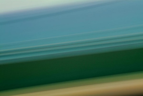 Light Signatures series, day, colour photograph, art, abstract, abstract expressionism, creative, city street, urban, downtown, cityscape, speed, blur, movement, motion, blue, green, muted, streaks, layering, patterns