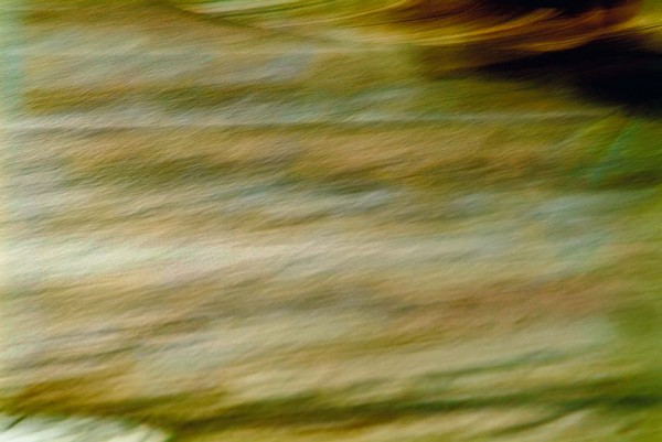 Light Signatures series, day, colour photograph, art, abstract, abstract expressionism, creative, city street, urban, downtown, cityscape, speed, blur, movement, motion,yellow, green, muted, etching, waves, patterns