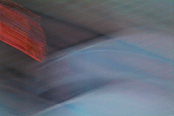Light Signatures series, day, colour photograph, art, abstract, abstract expressionism, creative, city street, urban, downtown, cityscape, speed, blur, movement, motion, blue, red, muted, sweeping, streaks, layered, patterns