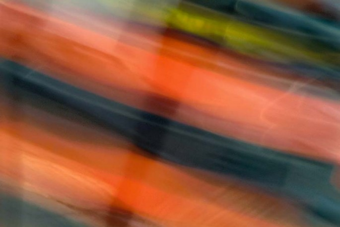 Light Signatures series, day, colour photograph, art, abstract, abstract expressionism, creative, city street, urban, downtown, cityscape, speed, blur, movement, motion, blue, orange, muted, streaks, patterns