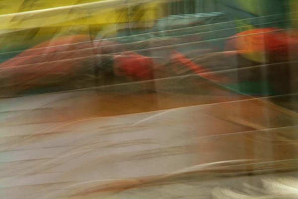 Light Signatures series, day, colour photograph, art, abstract, abstract expressionism, creative, city street, urban, downtown, cityscape, speed, blur, movement, motion, yellow, red, blue, muted, streaks, patterns