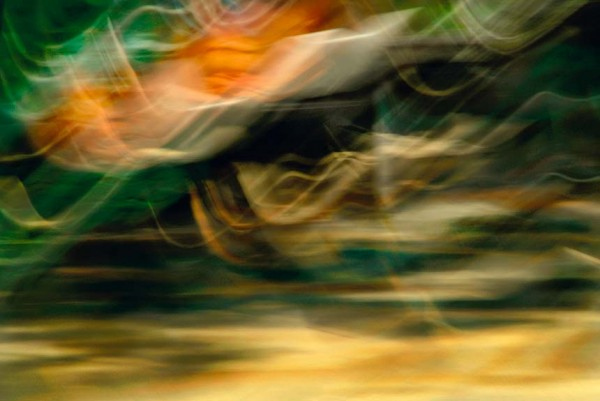 Light Signatures series, day, colour photograph, art, abstract, abstract expressionism, creative, city street, urban, downtown, cityscape, speed, blur, movement, motion, green, orange, yellow, muted, waves, patterns