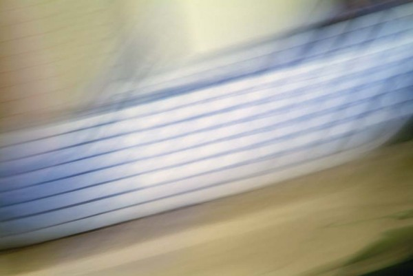 Light Signatures series, day, colour photograph, art, abstract, abstract expressionism, creative, city street, urban, downtown, cityscape, speed, blur, movement, motion, blue, beige, muted, grid, patterns