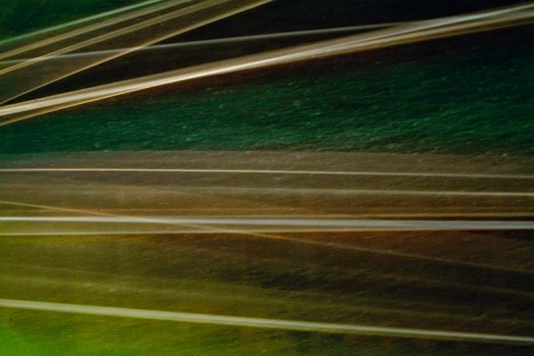 Light Signatures series, day, colour photograph, art, abstract, abstract expressionism, creative, city street, urban, downtown, cityscape, speed, blur, movement, motion, green, yellow, muted, streaks, patterns
