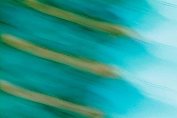Light Signatures series, day, colour photograph, art, abstract, abstract expressionism, creative, city street, urban, downtown, cityscape, speed, blur, movement, motion, green, blue, muted, streaks, patterns