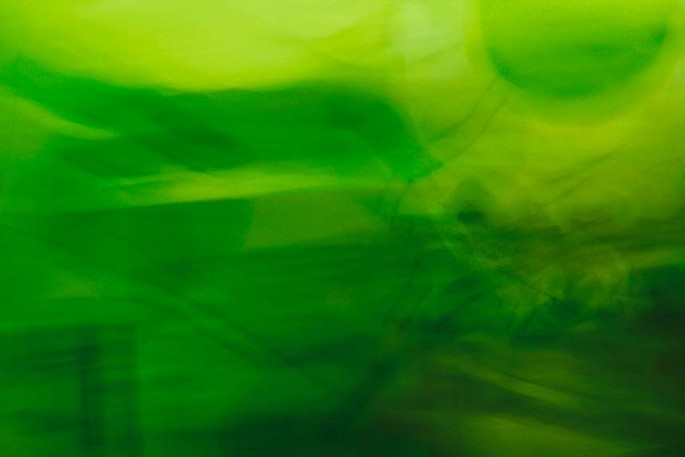 Light Signatures series, day, colour photograph, art, abstract, abstract expressionism, creative, city street, urban, downtown, cityscape, speed, blur, movement, motion, green, muted, circles, bubbles, shapes