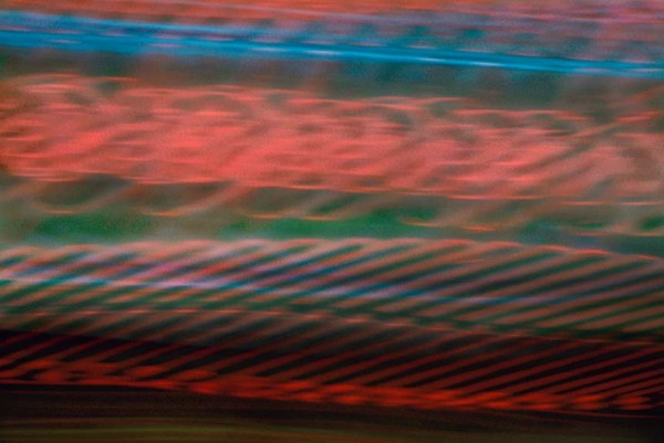 Light Signatures series, day, colour photograph, art, abstract, abstract expressionism, creative, city street, urban, downtown, cityscape, speed, blur, movement, motion, blue, green, red, muted, overlapping, waves, circles, patterns, shapes