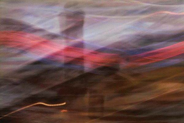 Light Signatures series, day, colour photograph, art, abstract, abstract expressionism, creative, city street, urban, downtown, cityscape, speed, blur, movement, motion, fuchsia, pink, muted, waves, streaks, patterns