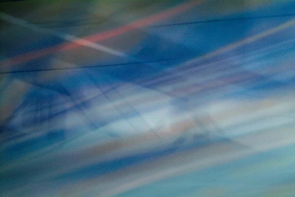 Light Signatures series, day, colour photograph, art, abstract, abstract expressionism, creative, city street, urban, downtown, cityscape, speed, blur, movement, motion, blue, muted, streaks