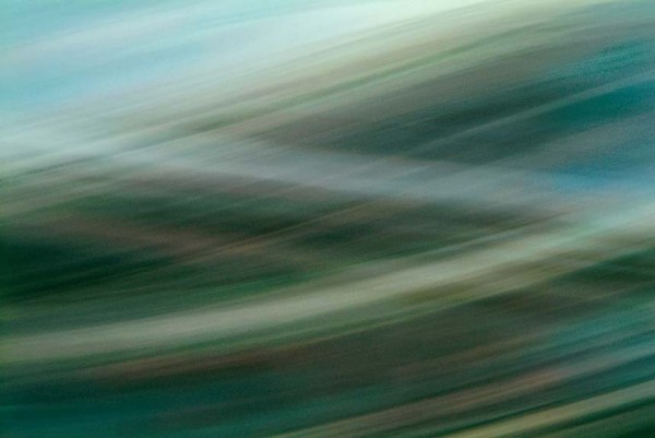 Light Signatures series, day, colour photograph, art, abstract, abstract expressionism, creative, city street, urban, downtown, cityscape, speed, blur, movement, motion, green, cyan, muted, brushed, streaks, patterns