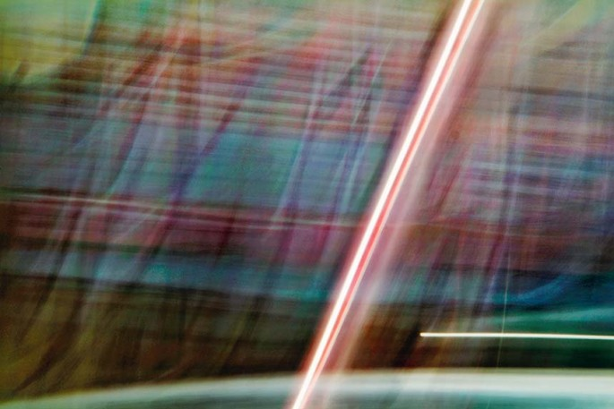 Light Signatures series, day, colour photograph, art, abstract, abstract expressionism, creative, city street, urban, downtown, cityscape, speed, blur, movement, motion, blue, green, fuchsia, muted, streaks, pattern