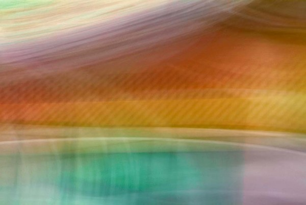 Light Signatures series, day, colour photograph, art, abstract, abstract expressionism, creative, city street, urban, downtown, cityscape, speed, blur, movement, motion, yellow, orange fuchsia, turquoise, muted, streaks, pulsing, pastels, pattern