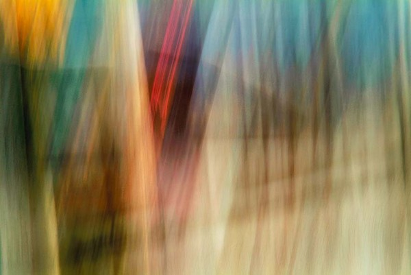 Light Signatures series, day, colour photograph, art, abstract, abstract expressionism, creative, city street, urban, downtown, cityscape, speed, blur, movement, motion, tan, yellow, blue, muted