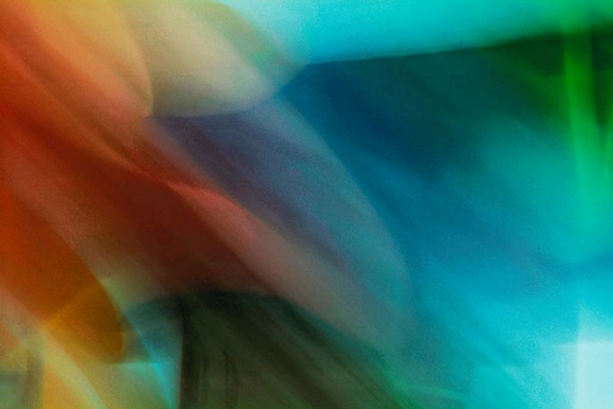 Light Signatures series, day, colour photograph, art, abstract, abstract expressionism, creative, city street, urban, downtown, cityscape, speed, blur, movement, motion, turquoise, blue, red, muted, swooshes,, pattern
