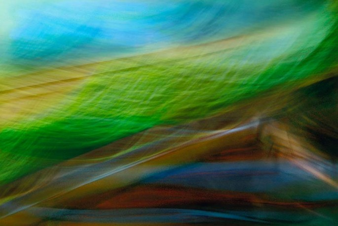 Light Signatures series, day, colour photograph, art, abstract, abstract expressionism, creative, city street, urban, downtown, cityscape, speed, blur, movement, motion, green, blue, muted, streaks, waves, layers, pattern