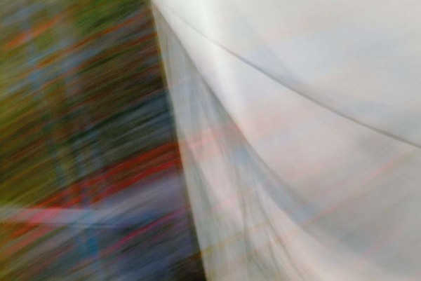 Light Signatures series, day, colour photograph, art, abstract, abstract expressionism, creative, city street, urban, downtown, cityscape, speed, blur, movement, motion, yellow, green, red, muted, streaks, layers, pattern