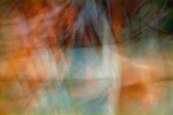 Light Signatures series, day, colour photograph, art, abstract, abstract expressionism, creative, city street, urban, downtown, cityscape, speed, blur, movement, motion, turquoise, orange, muted, streaks, layers, pattern