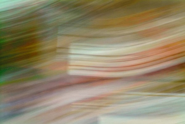 Light Signatures series, day, colour photograph, art, abstract, abstract expressionism, creative, city street, urban, downtown, cityscape, speed, blur, movement, motion, red, green, yellow, orange, muted, streaks, pastels, pattern