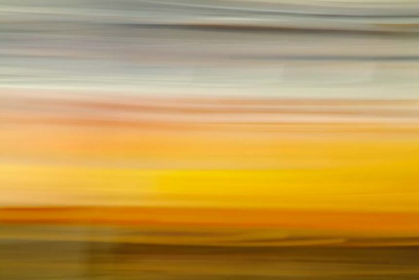 Light Signatures series, day, colour photograph, art, abstract, abstract expressionism, creative, city street, urban, downtown, cityscape, speed, blur, movement, motion, yellow, orange, muted, streaks, pattern, sunset