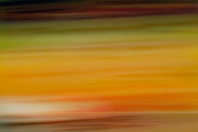 Light Signatures series, day, colour photograph, art, abstract, abstract expressionism, creative, city street, urban, downtown, cityscape, speed, blur, movement, motion, green, orange, muted, streaks, layers, pattern
