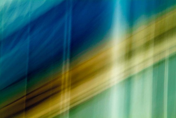 Light Signatures series, day, colour photograph, art, abstract, abstract expressionism, creative, city street, urban, downtown, cityscape, speed, blur, movement, motion, mauve, blue, turquoise yellow, vibrant, stripes, streaks, overlapping, pattern