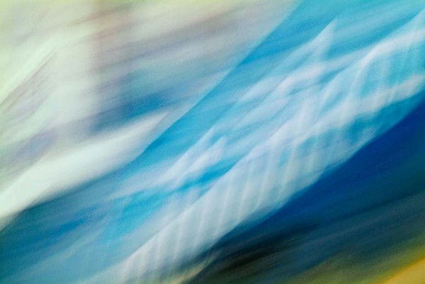 Light Signatures series, day, colour photograph, art, abstract, abstract expressionism, creative, city street, urban, downtown, cityscape, speed, blur, movement, motion, blue, vibrant, overlapping streaks, waves, smears, lines, pattern