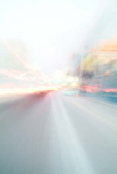 Convergent series, day, colour photograph, art, abstract, abstract expressionism, creative, city street, urban, downtown, cityscape, speed, blur, movement, motion, orange, blue, yellow, muted, reflection, boxes, cubes, smear, wedges, shape