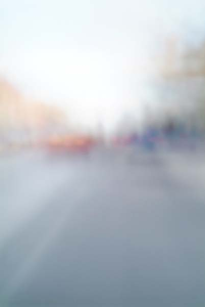 Convergent series, day, colour photograph, art, abstract, abstract expressionism, creative, city street, urban, downtown, cityscape, speed, blur, movement, motion, orange, blue, yellow, muted, reflection, buildings, smear, wedges, shape