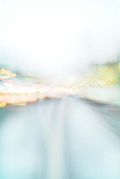 Convergent series, day, colour photograph, art, abstract, abstract expressionism, creative, city street, urban, downtown, cityscape, speed, blur, movement, motion, green, orange, yellow, muted, smear, wedges, shape