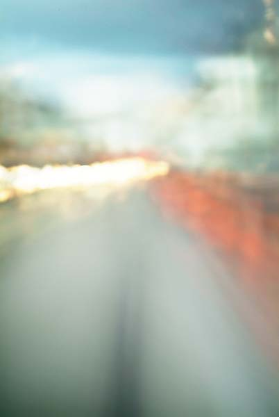 Convergent series, day, colour photograph, art, abstract, abstract expressionism, creative, city street, urban, downtown, cityscape, speed, blur, movement, motion, blue, orange, yellow, vibrant, muted, smear, wedges, shape