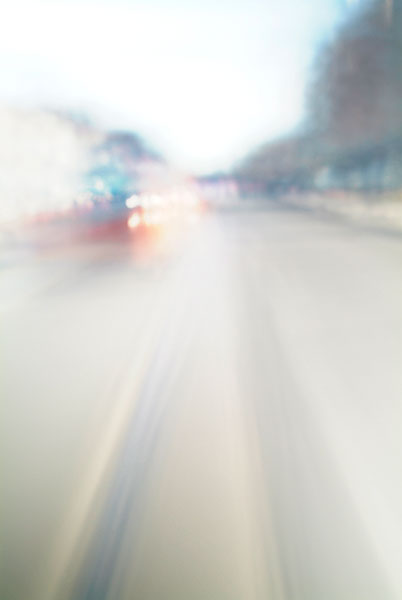 Convergent series, day, colour photograph, art, abstract, abstract expressionism, creative, city street, urban, downtown, cityscape, speed, blur, movement, motion, blue, muted, trees, wedges smear, streaks, shape