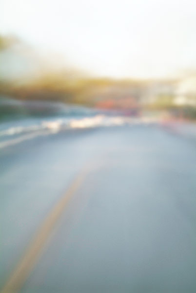 Convergent series, day, colour photograph, art, abstract, abstract expressionism, creative, city street, urban, downtown, cityscape, speed, blur, movement, motion, blue, brown, green, muted, smear, streaks, curves, cars, trees, shape