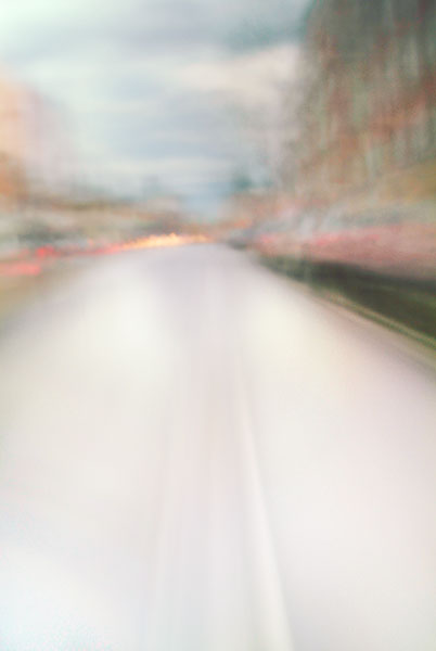 Convergent series, day, colour photograph, art, abstract, abstract expressionism, creative, city street, urban, downtown, cityscape, speed, blur, movement, motion, brown, red, muted, smear, building, cars, street, streaks, shape