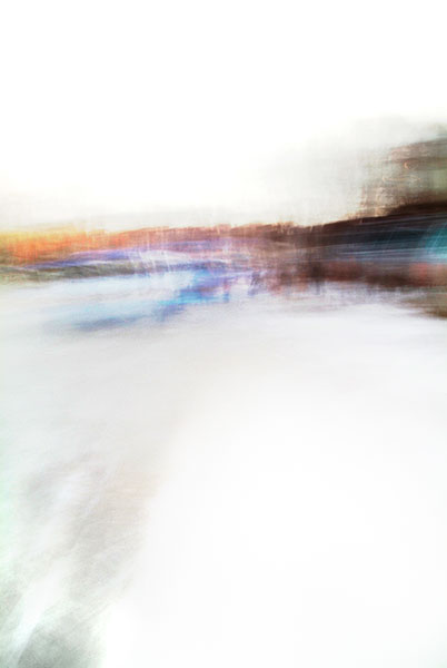 Convergent series, day, colour photograph, art, abstract, abstract expressionism, creative, city street, urban, downtown, cityscape, speed, blur, movement, motion, blue, orange, teal, muted, smear, stripe, streaks, wedges, shape